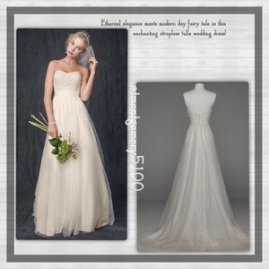 David's Bridal Strapless Beaded Lace Tulle Gown